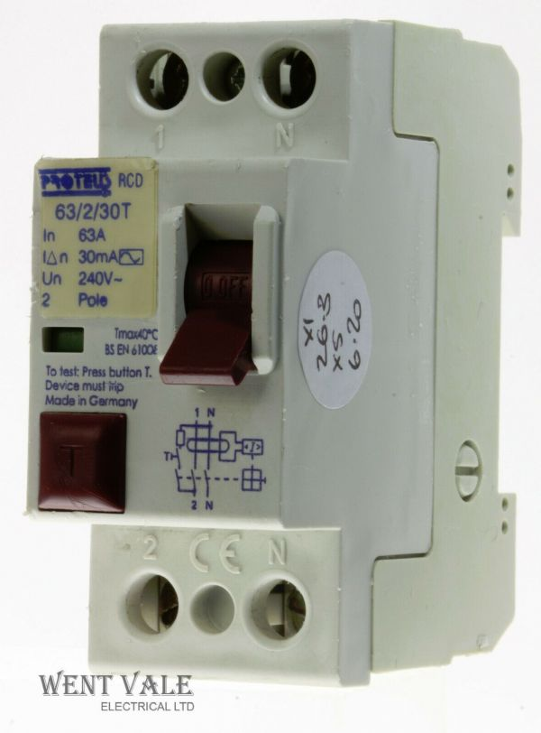 Proteus - 63/2/30T - 63a 30mA Double Pole RCD Used